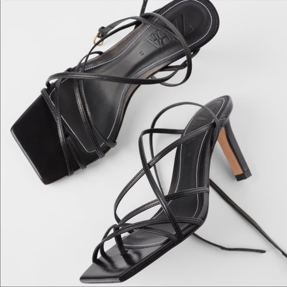 Zara leather strappy heeled sandals
